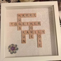 Scrabble Art…may add any names or other words you choose. Scrabble Art…may add any names or other words you choose. Scrabble Letter Crafts, Scrabble Tile Crafts, Scrabble Letters, Box Frame Art, Box Frames, Craft Gifts, Diy Gifts, Frame Crafts, Personalized Wedding Gifts