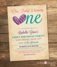 First Birthday Invitation, Birthday Party, First, Birthday Party Invite, Purple, Teal, Coral, Girl, Heart, Printable File by InvitingDesignStudio on Etsy