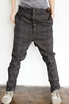 Hemp Drop Crotch Pant with Side Pockets, Button Front and Vintage Leather Strap Available in Dark Olive Plaid