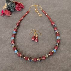 Valentines Day Gift For Her Red Necklace Set by BarbsBeadedJewelry