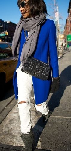 blue coat jeans white shoulder bag black scarf gray sunglasses style outfit apparel fashion clothing women casual street bright