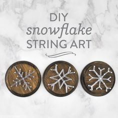 Have you seen any snow yet? We're supposed to get a little here on Saturday (the first snow of the year!) and we're very excited! In preparation, we're sharing a snow-day craft we hope you'll love. This snowflake string art requires just a few supplies and a little bit of patience, and the end result is oh so cute. Here's what you'll need: round wooden plaques (ours are from AC Moore), a wood stain (optional), nails, a hammer, and some embroidery floss. Directions: 1. Stain the wood rounds… Christmas Craft Projects, Christmas Activities, Rustic Christmas, Christmas Art, Christmas Holidays, Christmas Crafts, Christmas Ornaments, Wood Nails, Nail String Art