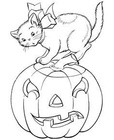 Hallowen colorir, Dia das Bruxas Desenhos para colorir gato e abóbora: Halloween Desenhos para colorir gato e PumpkinFull Tamanho da Imagem