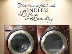 This home is filled with endless love and laundry room vinyl wall decal quote via Etsy