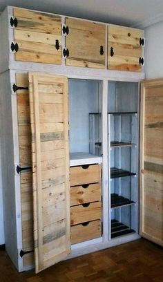recycled pallet closet idea 3