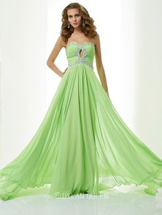 Graceful A-Line/Princess Sweetheart Sleeveless Beading Sweep/Brush Train Chiffon Dress