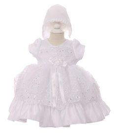 Cinderella Couture Baby Girls White Sequin 3D Flower Bonnet Baptism Dress 12-18M