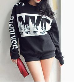 Fashionable Jewel Neck Letter Print Long Sleeve Women's Sweatshirt