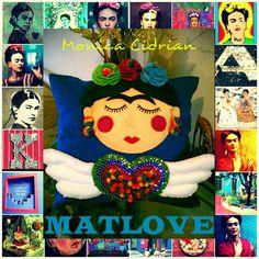 Cojin decorativo,Frida Kahlo,bordado a mano. Matlove.Monica Cidrian.