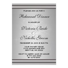 Silver Snowflake Winter Wedding Rehearsal Dinner Personalized Invitations This wedding Rehearsal Dinner invitation features a silver grey background with a snowflake and black text. Perfect for a holiday, winter themed or Christmas wedding.