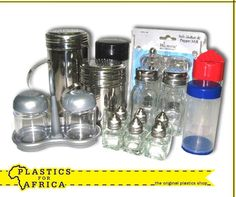 At #PlasticsforAfrica, we stock a range of plastic and stainless steel salt & pepper shakers as well as spice containers. Visit your nearest branch.