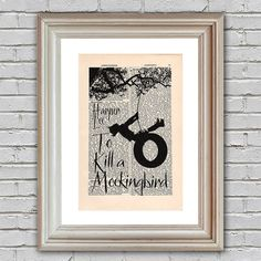 To Kill a Mockingbird Print on an upcycled vintage encyclopedia page (unframed) - home decor, wall art, book cover print, Harper Lee poster