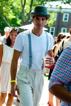 Mens fashion -- cute hat and suspenders. (Why won't more men wear suspenders!?)