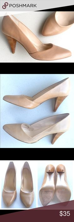 """TAHARI Nude Carla Pumps TAHARI Nude Carla Pumps• Leather Upper• Stacked Wooden Heel Approximately 3.5""""• Worn Once• No Signs Of Wear Except Minimal Scuffing On Bottom• Size 7.5 M• A Must Have Closet Staple! Tahari Shoes Heels"""