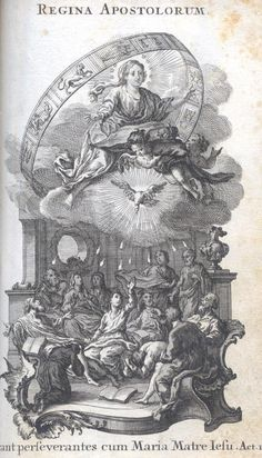 Regina Apostolorum Queen of Apostles - Mary is hovering over the group of apostles gathered in the Upper Room.  Her posture and countenance are those of the Immaculata.  Her outstretched arms suggest intercession and mediation.  Stars and rays of light, as well as the wheel of time marked by the signs of the Zodiac  surrounding her figure point to the woman clothed with the Sun (Revelation 12:1).  The crown held by the little angel confirms her title as Queen of the Apostles.  Meanwhile the…