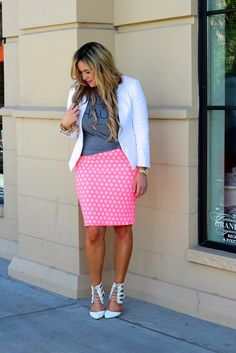 This Lularoe skirt in neon print and Haute screen tee with your topshop blazer and cutout heels is tres chic, perfect summer styling!