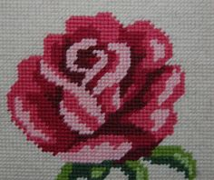 70's framed cross stitch rose picture Made in Finland