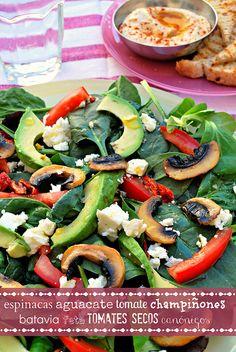 ensalada fibonacci {baby spinach, avocado, fresh tomatoes, dried tomatoes, mushrooms, feta cheese, lamb's lettuce}