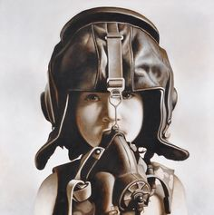 A new work Fighter Pilot # 6 I have hanging in a show at Corey Helford Gallery, LA.