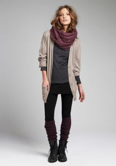 black ankle boots + legwarmers + black leggings + gray henley + tan cardigan + violet scarf