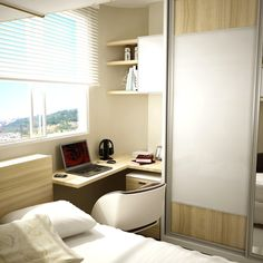 Ideas For Home Office Pequeno Janela Small Bedroom Designs, Small Room Bedroom, Small Rooms, Small Apartments, Home Bedroom, Small Spaces, Bedroom Decor, Teenage Room, Condo Living