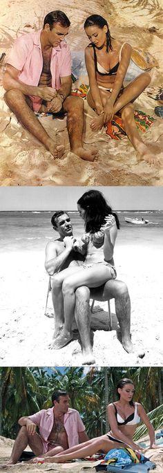 Sean Connery as 'James Bond' & Claudine Auger as 'Domino' in Thunderball James Bond Party, James Bond Movies, Roger Moore, Daniel Craig, James Bond Women, Sean Connery James Bond, Claudine Auger, Service Secret, Bond Series