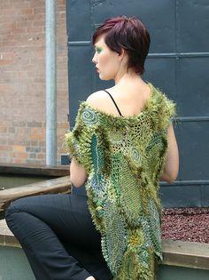 leafy freeform shawl, via Flickr.