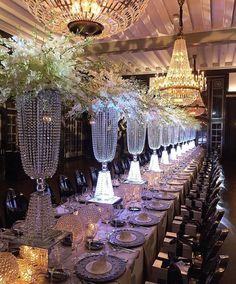 Magnificently GLAMOROUS! #tabledecor #regramlove @annebargebride #bride #bridetobe #tablescape #Chandeliers