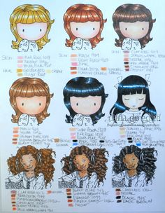 These are by no means the only color combos you can use for hair and skin, just a few of my suggestions. I am sure you can come up with bett...