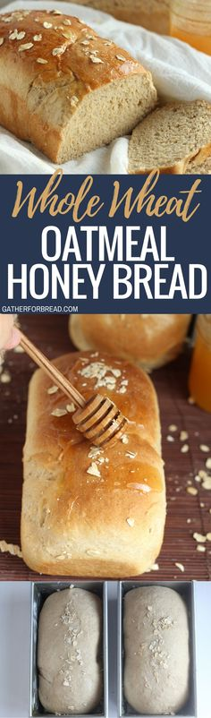 Whole Wheat Oatmeal Honey Bread - Soft and slightly sweet whole wheat oatmeal honey bread. Perfect for sandwiches, toast or buttered up and served with our favorite meal. (Baking Bread Whole Wheat) Honey Bread, Rosemary Bread, Muffin Bread, Bread Machine Recipes, Bread And Pastries, Artisan Bread, Sweet Bread, Bread Baking, Pan Bread