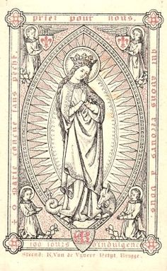 A late 19th century holy card of Mary as the Immaculate Conception.