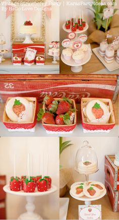 Vintage Strawberry + Strawberry Shortcake themed birthday party via Karas Party Ideas.com #vintage #strawberry #birthday #party #shortcake #themed #girl #1st #baby #shower #planning #ideas #cake #idea #decor  I love this theme, well done to the creative mind who thought of it
