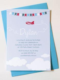 Personalised Plane Birthday Invitations. $25.00, via Etsy.