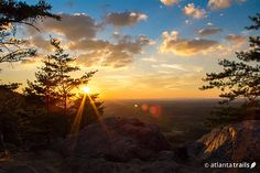 Sunset view from the Sawnee Mountain summit on the Indian Seats hiking trail near Atlanta