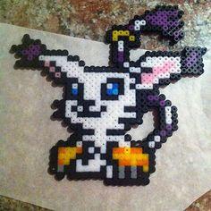 Gatomon Digimon hama beads by keishy_balaperdida2610