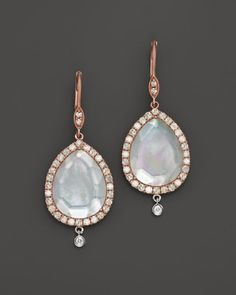 Meira T 14K Rose Gold, Mother of Pearl, White Topaz and Diamond Drop Earrings