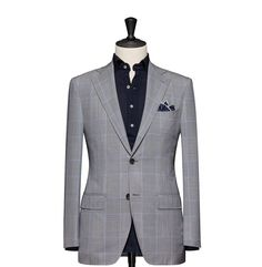 Tailored 2-Piece Suit – Fabric 4602 Glencheck Blue Cloth weight: 230g Composition: 100% Wool Super 120's