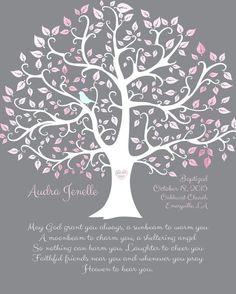 Baby Dedication, baptism or christening Gift - PRINT. Beautiful gift for baby dedication, shown here in pink and gray (lots of detail in the