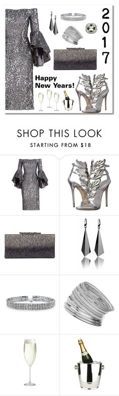"""""""Happy New Years 2017"""" by neesyrn ❤ liked on Polyvore featuring Milly, Giuseppe Zanotti, Bling Jewelry, Miss Selfridge, Crate and Barrel, Winco and David Yurman"""