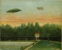 アンリ・ルソー 《飛行船「レピュブリック号」とライト飛行機のある風景》