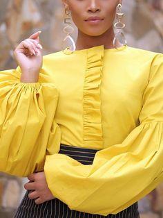 Patchwork Lantern Sleeve Plain Standard Women's Blouse - African fashion Ghanaian Fashion, African Fashion Dresses, Fashion Outfits, Fashion Top, Fashion Blouses, Couture Fashion, Black Women Fashion, Womens Fashion, Female Fashion