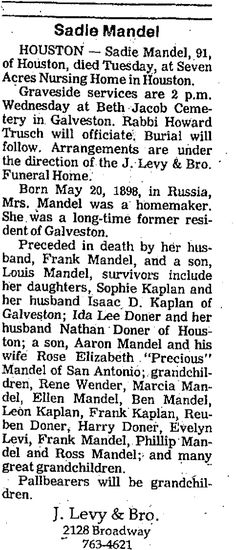 Frank Mandel's 2nd wife obit