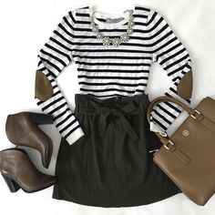 Stripe elbow patch sweater, olive green paperbag skirt, cognac ankle franell booties, camel purse, fall outfit