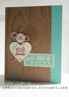 CAS (clean and simple) card - card is based with the Natural Composition Specialty DSP,  The right edge is bordered with 2013-2015 In Color DSP in Coastal Cabana and both images come from Hello, Lovely. My ink colors include Soft Suede, Cherry Cobbler, and Coastal Cabana. I cropped the Hello Lovely image using the Hearts Collection Framelits and then finished it all off with a Very Vintage Designer Button and Cherry Cobbler Bakers Twine