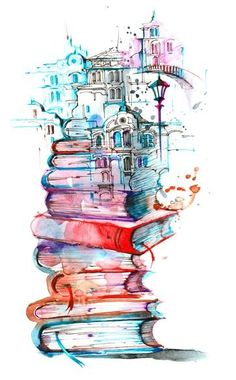 Art Print: Reading City by okalinichenko : Art Et Illustration, Harry Potter Art, Art Drawings Sketches, Music Drawings, Cute Wallpapers, Amazing Art, Watercolor Paintings, Watercolor Books, Book Art