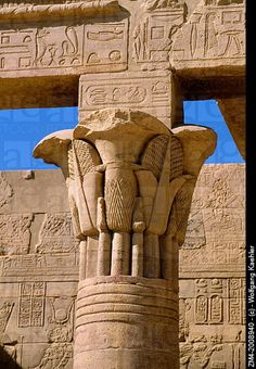 EGYPT, ASWAN, NILE RIVER, AGILKIA ISLAND, PHILAE, WEST COLONNADE, CLOSE-UP OF FLORAL CAPITAL.