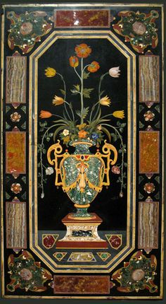 Opificio delle Pietre Dure - Florence - Panel with a Vase of Flowers, 1600 - 1650. Hardstones (lapis lazuli, amethyst, Sicilian jasper, Sienese agate, chalcedony, and carnelian), marbles (verde antico, rosso antico, bianco e nero), and alabaster, set into black Belgian marble.