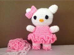 Hello Kitty crochê - Professora Maria Rita