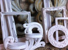Empty Gallery Frames Pale Pink Shabby Chic Vintage by FeFiFoFun, $88.00
