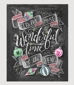 """With the kids jingle belling And everyone telling you be of good cheer It's the most wonderful time of the year"" ♥ Our fine art chalkboard prints will bring the rustic charm of a chalkboard to your s"